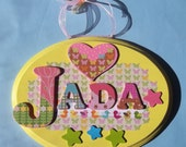 Custom Baby Wood Name Plaque You choose colors & theme Made to Order