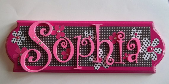Custom wooden name plaque for girls any color or theme for Signs for kids rooms