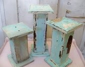 Handmade wood pillar candle holders large chunky shabby cottage blue/white OOAK Anita Spero