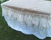 Handmade burlap lace tablecloth large upcycled decor one of a kind by Anita Spero