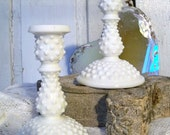 Vintage hobnail candle holders white milk glass collectible style shabby chic home decor Anita Spero