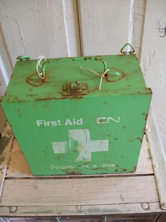 Metal green first aid box vintage industrial decor distressed rusty home decor anita spero