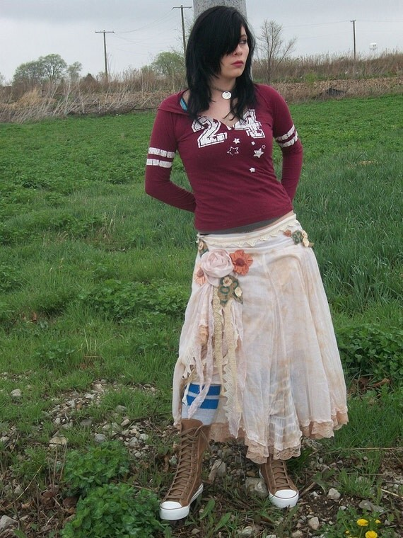 reserved for wanderingfawn.Woman's skirt white cream long gypsy boho up cycled clothing Anita Spero OOAK