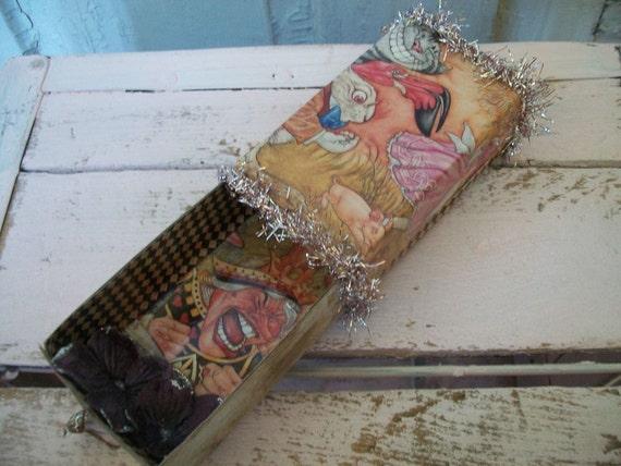 Alice in Wonderland themed Decorated matchbox/ stashbox, OOAK