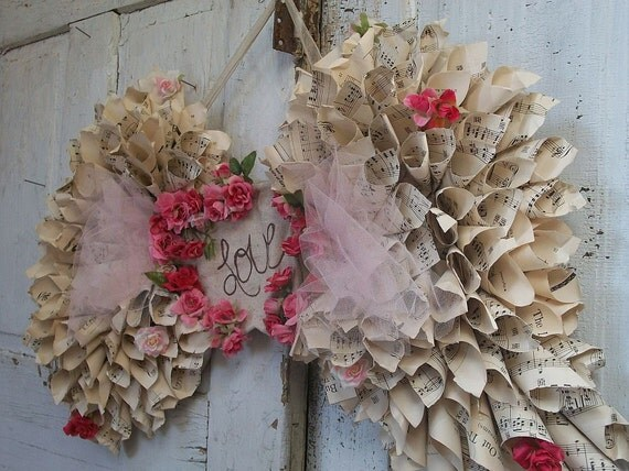 Handmade paper angel wings romantic tattered recycled music sheet paper OOAK