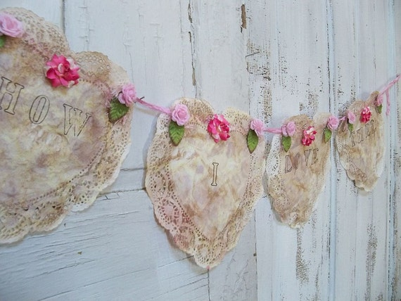 Hand made wedding banner lace heart doily , romantic quote garland ooak  Anita Spero