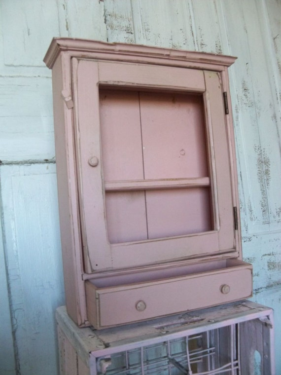Vintage pink distressed wood cupboard hand made shabby chic wooden furniture