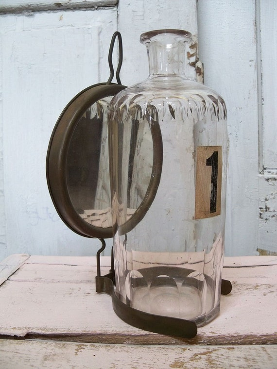 Old glass bottle antique mirrored reflector with clamp industrial farmhouse styles anita spero