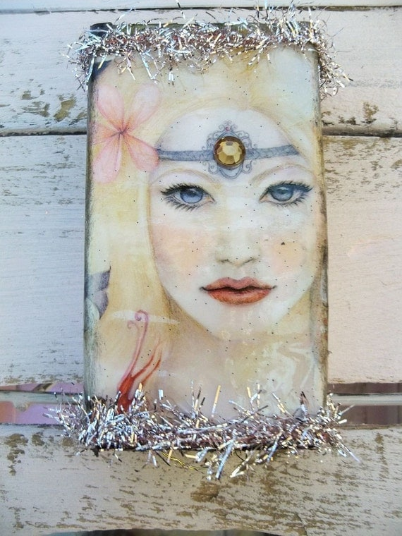 Recycled matchbox fairy themed trinket box stash box reclaimed paper art  Anita Spero