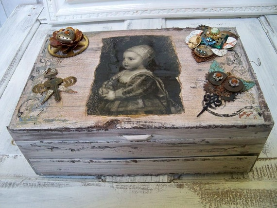 Large Jewelry box steampunk ornate salvaged art pieces French chic detailed table decor Anita Spero