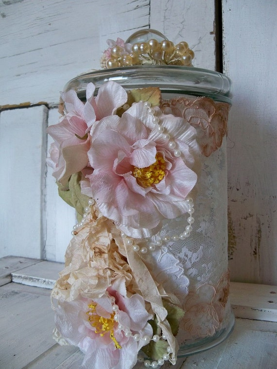 Large ornate wedding wishing jar lace covered note card holder special occasion decoration anita spero