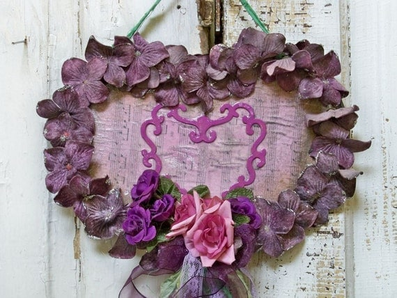Handmade velvet Hydrangea themed heart wall purple lilac themed decor ooak Anita Spera