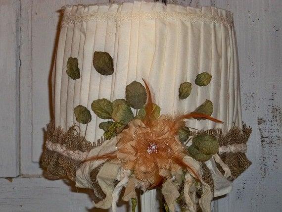 lampshade burlap muslin Handmade shabby farmhouse style OOAK Anita Spero