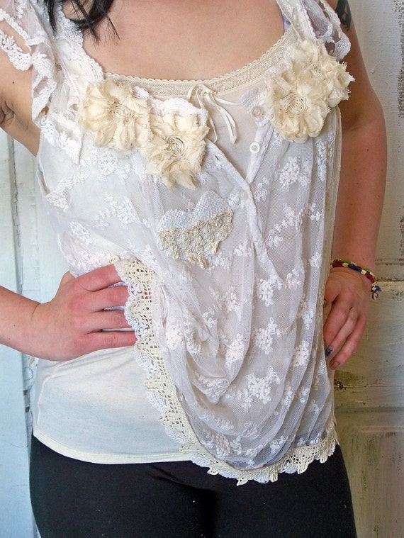 Woman's up cycled summer white lace tank top sheer and cami hand made ooak Anita Spero