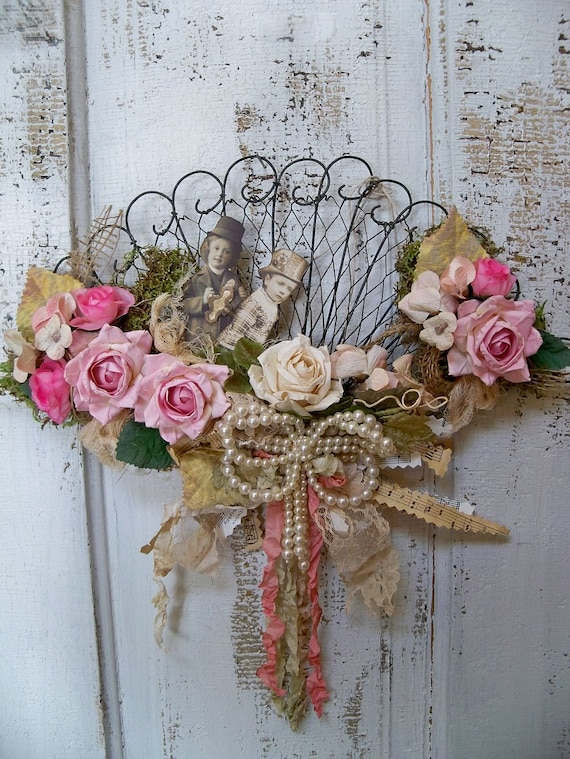 Shabby chic Victorian fan decorated wall decor OOAK Anita Spero