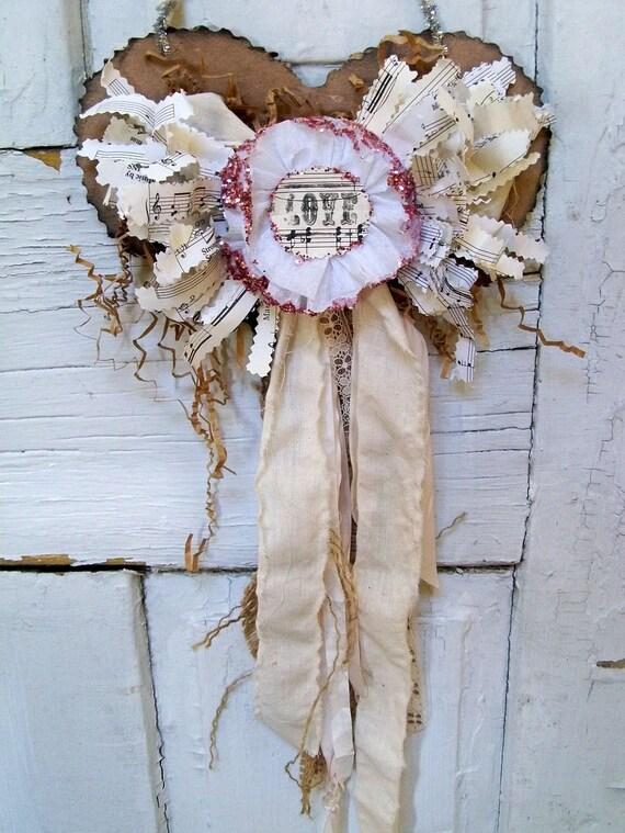 Handmade shabby chic heart wall hanging muslin ooak Anita Spero