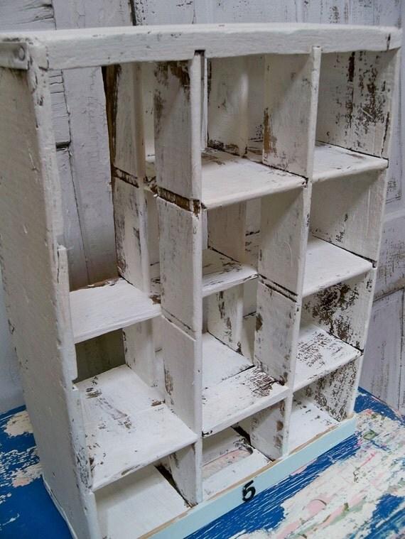 Farmhouse chic white painted crate -cubby organizer Anita Spero