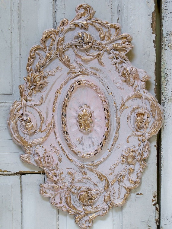 Hand painted shabby chic fancy wall decor plaque header pediment Anita Spero