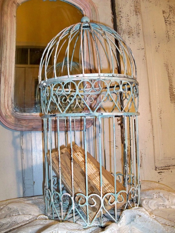 Vintage birdcage hand painted shabby chic chippy distressed OOAK Anita Spero