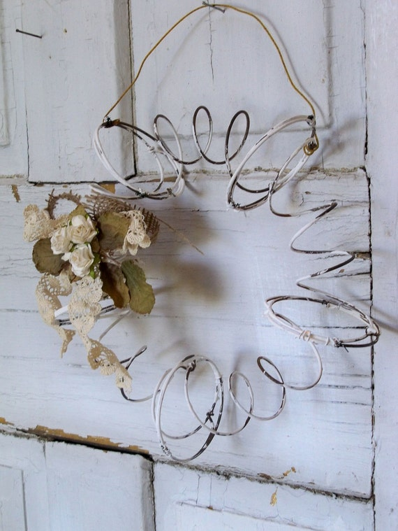 Rusty metal recycled wreath salvaged bed springs primitive farmhouse wall decor Anita Spero