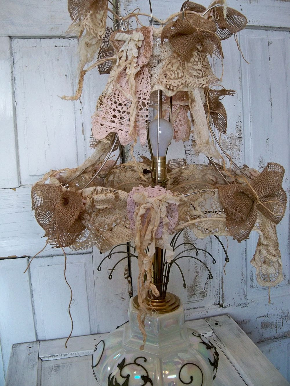 Decorated Lamp Shade Frame Up Cycled Burlap Shabby Chic Wire