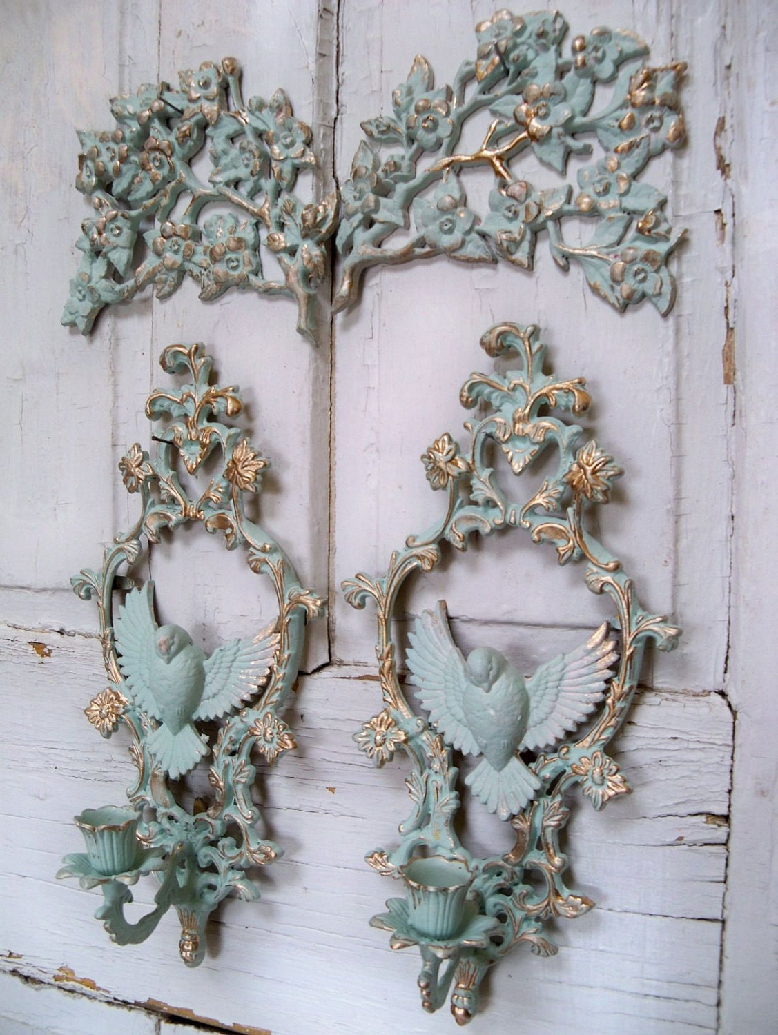 aqua vintage wall grouping with gold accents shabby chic wall. Black Bedroom Furniture Sets. Home Design Ideas