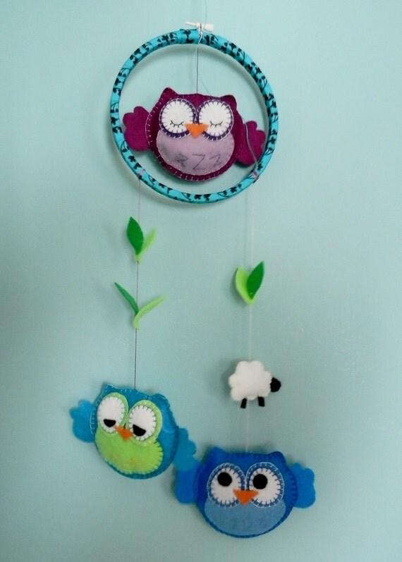 Handmade Felt Baby Owl Mobile