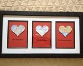 Heart Map, Personalized Framed Artwork for Wedding, Engagement, or Housewarming present- Black Frame, White Mat
