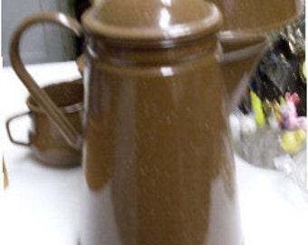 Rare Brown Enamel  Coffee Pot