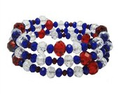TEAM USA Red White and Blue Beaded Coil Bracelet
