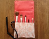 Makeup Brush Roll- Coral/ crochet hook organizer