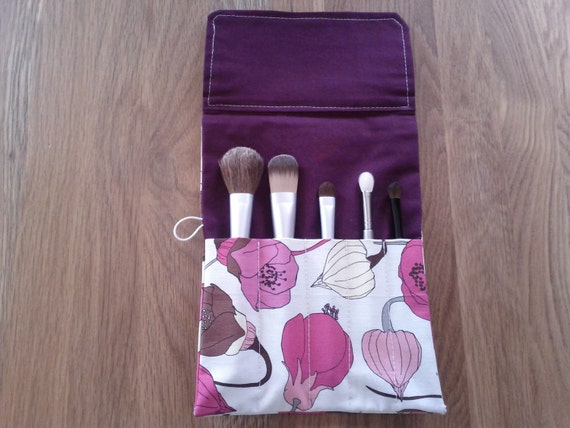 Makeup Brush Roll- Floral/ Crochet hook organizer
