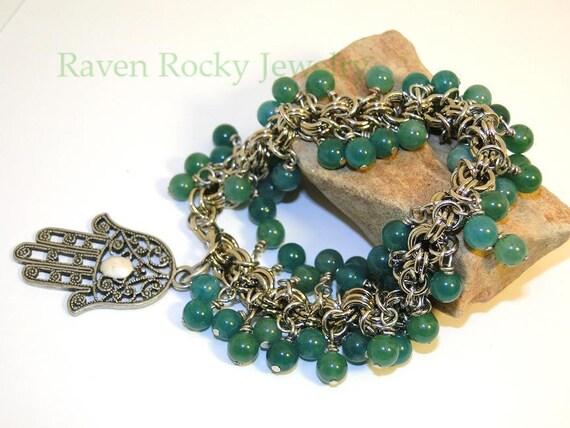 Emerald Green Beaded Tarot Palm Bracelet