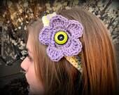 Purple, Green, and Cream Stripe crochet headband