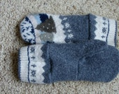 Winter scene wool mittens in charcoal grey, white, greens and blues