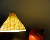 Woven Rattan Plastic Coated Retro Desk Lamp and Matching Tray