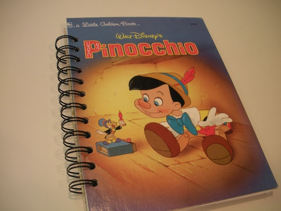 Vintage Pinocchio Little Golden Book Recycled Journal Notebook