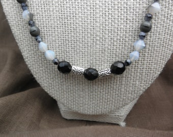 Gray Day Beaded Necklace