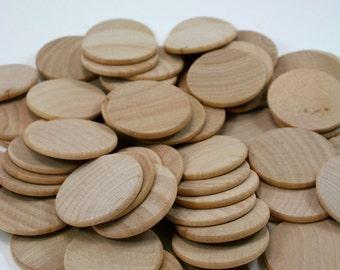 "100 Unfinished Wood Discs Coins Circles - 1.5"" (3.8cm) Diameter"