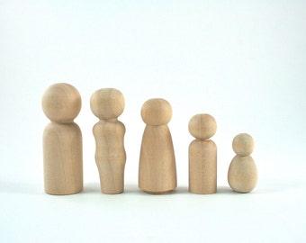 Peg Dolls Set   5 unfinished wood Peg Doll Family Wooden Peg People - Waldorf Wooden Figurines