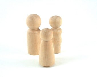 3 Wood Peg Dolls - DIY Paint It Yourself Figures - Waldorf Unfinished Wooden Figurine - 3 Person Family Peg Doll Set