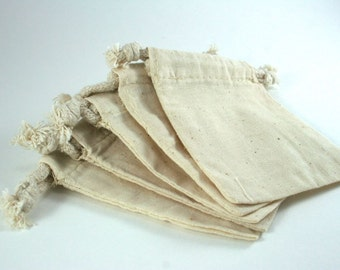 Muslin Bags | 5 SMALL Cotton Muslin Bags Pouches (3 by 4 inch) for Jewelry, Earrings, Rings, Pendants, Gift Bag
