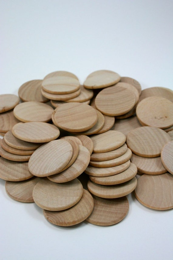 100 Unfinished Wood Discs Wooden Disc Coins Circles