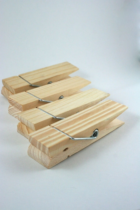 4 Giant Wood Clothes Pins Paper Clip Unfinished Wood - 6 inches long