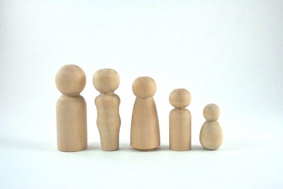 5 Wood Peg Dolls - DIY Figures - Waldorf Wooden Figurine - 5 Person Family Set