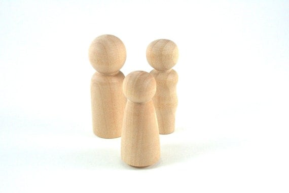 3 Wood Peg Dolls - DIY Paint It Yourself Figures - Waldorf Wooden Figurine - 3 Person Family Set