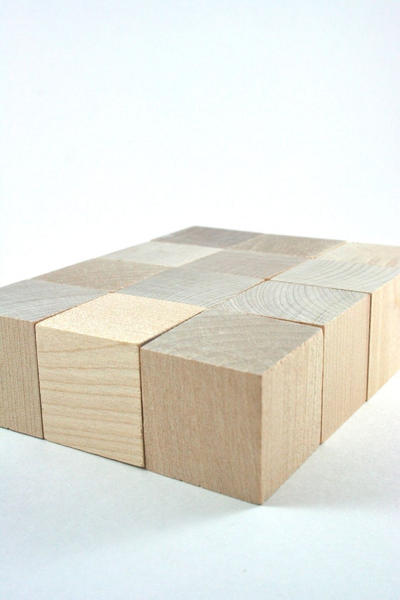 Unfinished wooden baby blocks