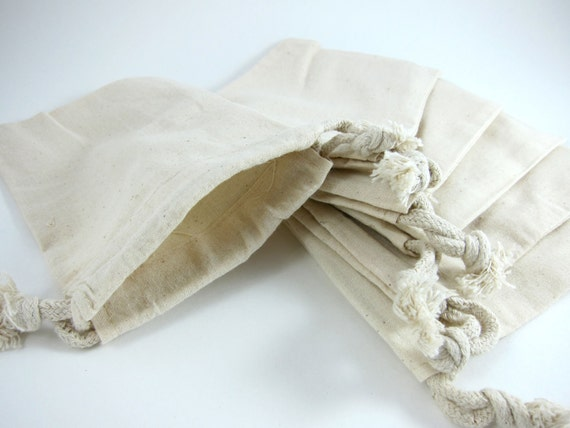 5 Medium Cotton Muslin Bags Pouches (4 by 6 inch) Gift Bags, Etsy Shop Packaging, Favor Bags, Goodie Bags, Ecofriendly, Natural cotton bags