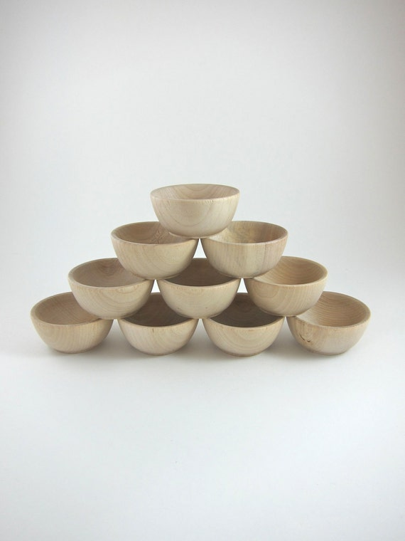 10 Small Wood Bowls - Unfinished Wooden Ring Cups - Ringbearer Bowls