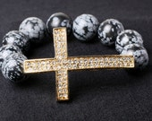 Large Gold Cross with Grey and Black bead